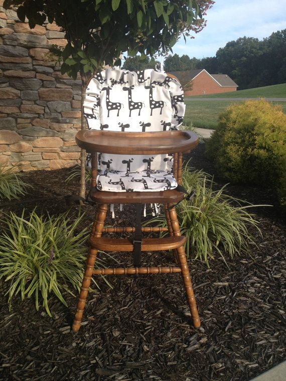 Wooden Highchair Cover Giraffe back/seat by