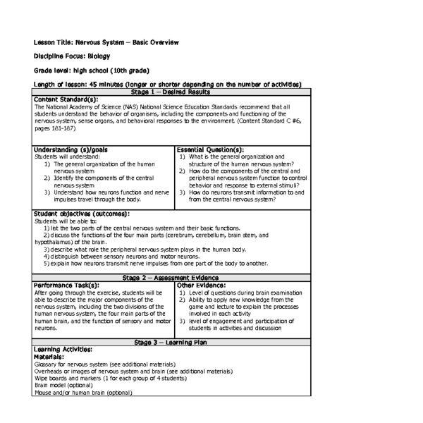 Somatic Senses Education: Nervous System Lesson Plan
