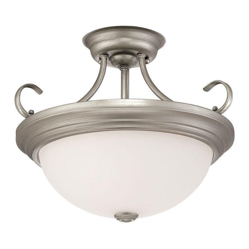 Millennium Lighting 5213 2 Light Semi-Flush Ceiling Fixture Rubbed Silver Indoor Lighting Ceiling Fixtures Semi-Flush