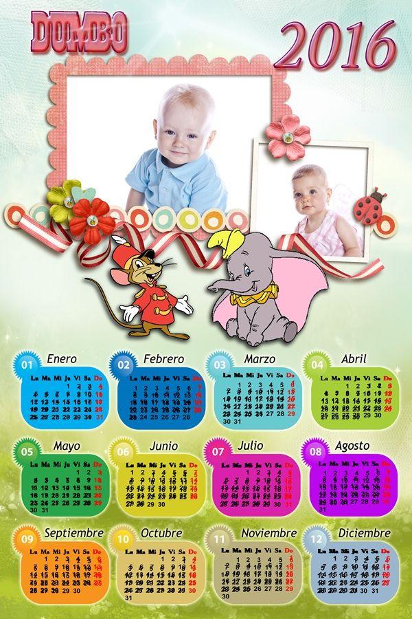 Calendarios para Photoshop Calendario para el 2016 de Dumbo para