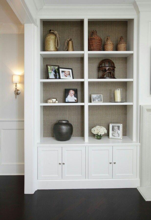 Grey Grasscloth Inside Built Ins Amp Pantry Bookshelves In Living Room Built In Shelves Living