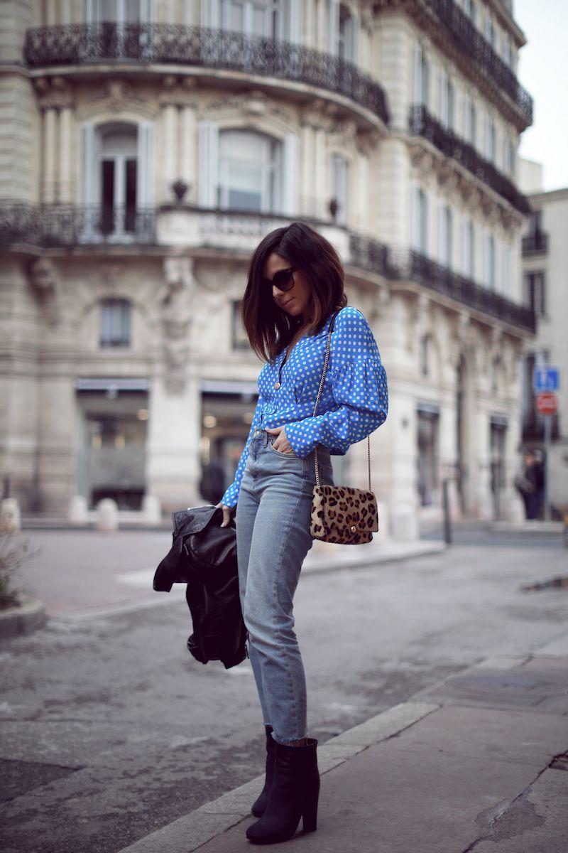 Taille Jean Bottines Pois À Noires Topshop Haute Zara Blouse InUA4wxI