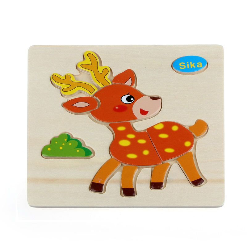 Wooden Cartoon Rooter Shape Jigsaw Puzzle Kids Toddlers Educational Toy Gift