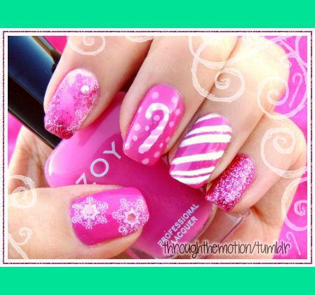 Pink Christmas Nail Nails Nailart