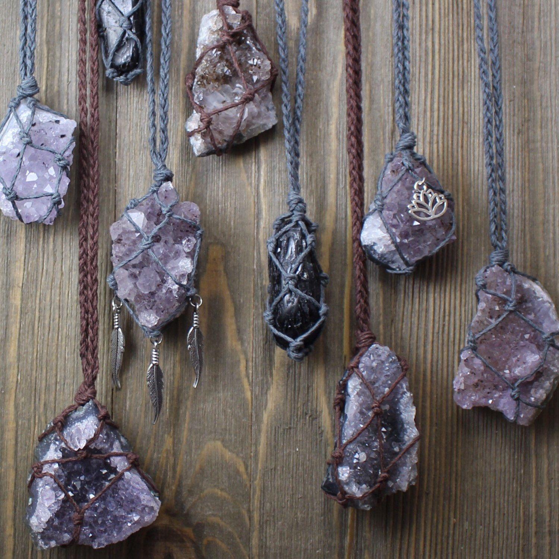 Handmade Hemp Twist Necklace with Amethyst Stone Beads