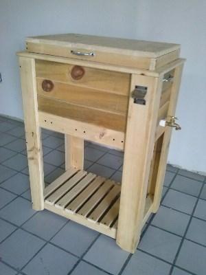 Mueble para Hielera de madera de madera al natural  Ideas
