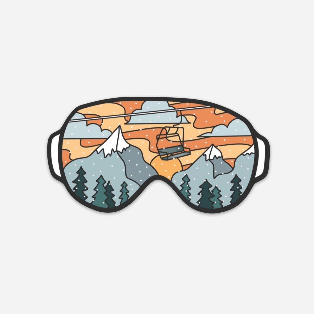 Snow Goggle Stickers Ski Snowboard Mountain Scene Etsy Ski Drawing Nature Stickers Cute Stickers [ 1205 x 1206 Pixel ]