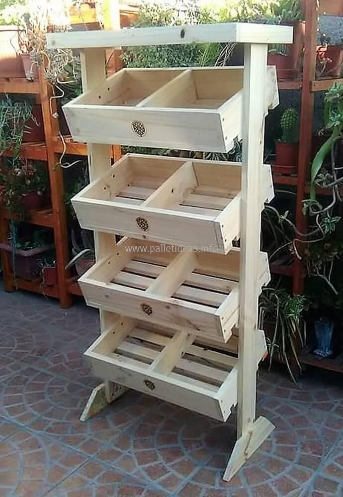 This is beautiful wood pallets storage as well as fruit rack crafted with reused pallet wood. We have artistically designed this project to provideu2026 & This is beautiful wood pallets storage as well as fruit rack crafted ...