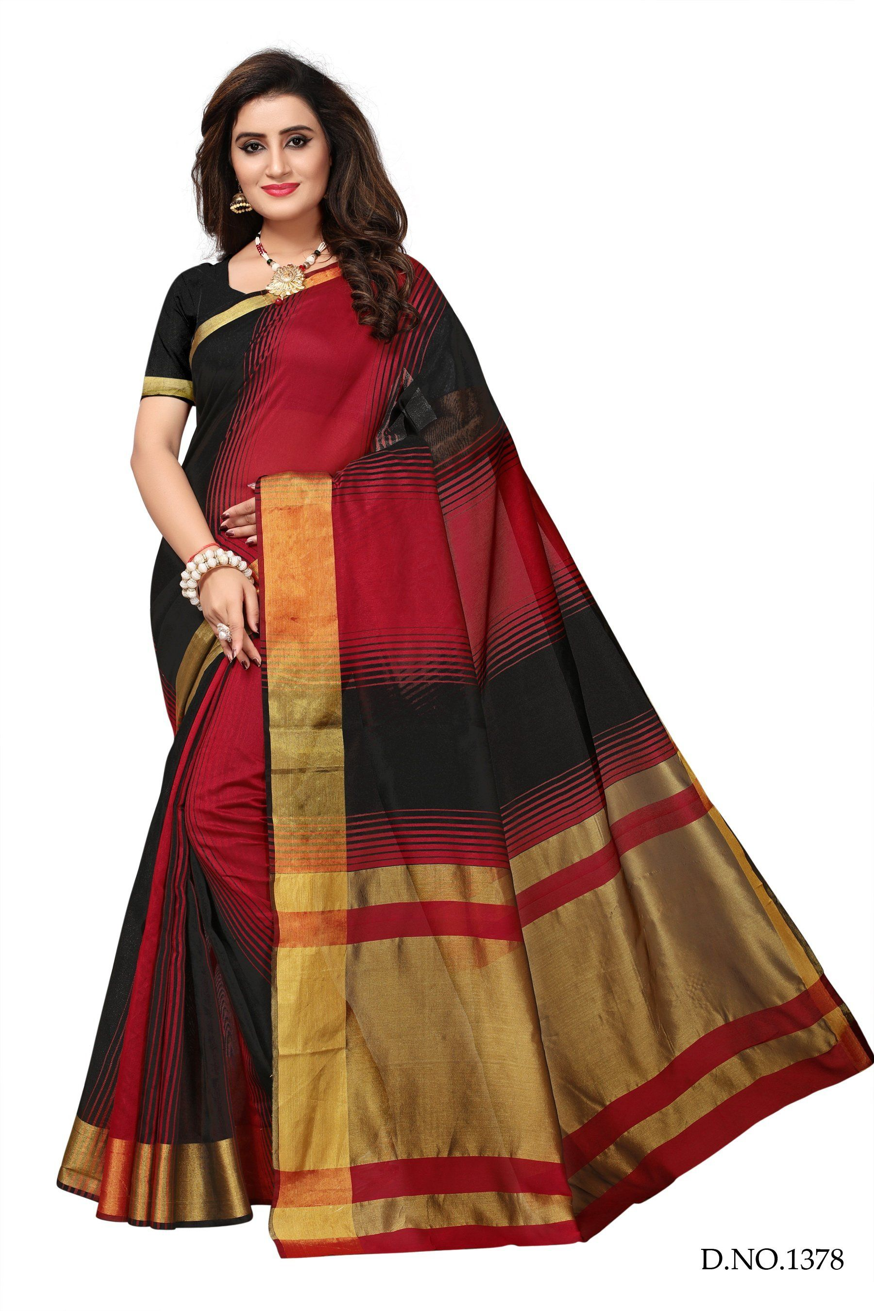 07e4b29ffb Buy Red and Black Color Cotton Silk Saree | Zinnga | Buy Womens ...