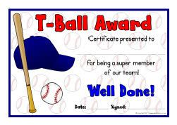 Marvelous T Ball Award Certificates
