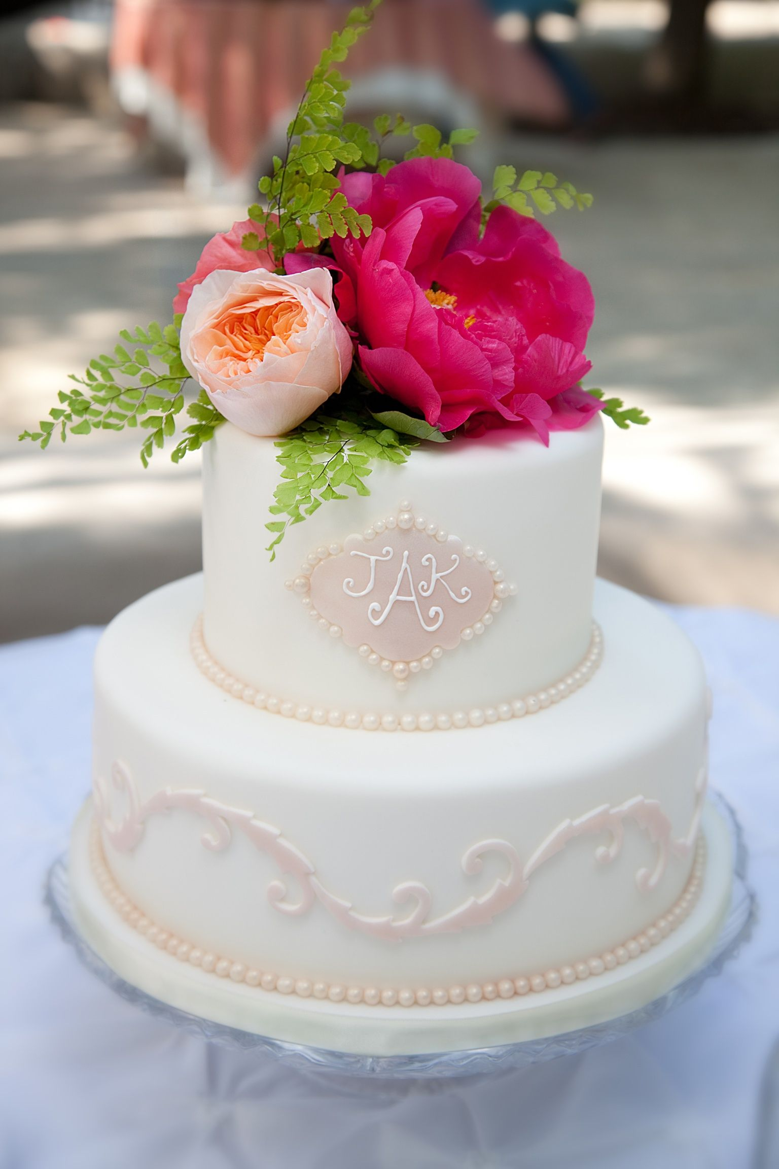 Juliet garden roses and hot pink peony cake topper by Simply Flowers ...