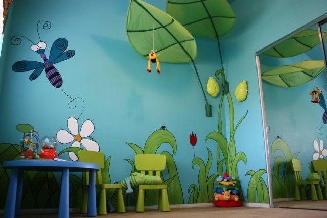 Kinderzimmergestaltung Farbe Wandmalerei Garten Ikea Lova Betthimmel