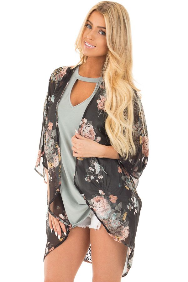 691586adf Black Floral Print Kimono with Rounded Hem | Cardigans & Kimonos ...