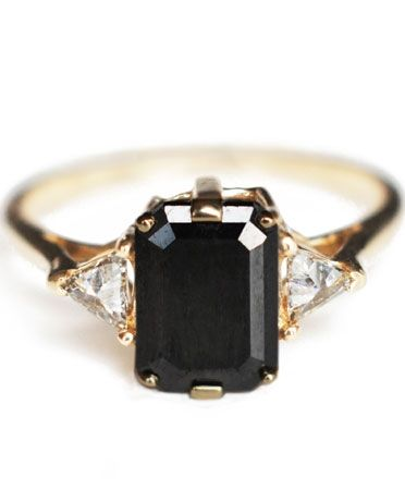 Alternative Engagement Rings For Edgy Brides That Aren T Bands Black Diamond Ring Engagement Square Black Diamond Black Diamond Ring