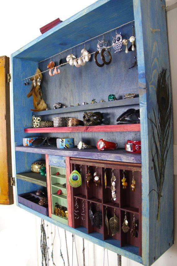 Hanging Jewelry Organizer made from repurposed wood Handmade