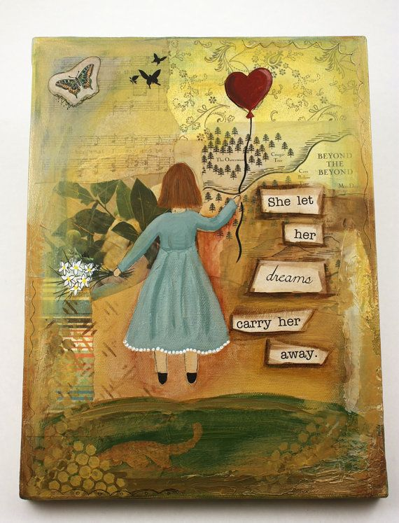 She Let Her Dreams Carry Her Away  Mixed by daffodilsanddaisies (Art & Collectibles, Mixed Media & Collage, painting, canvas, 8 x 10, heart, girl, dreams, mixed media, art, original)