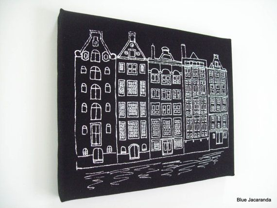 Dutch Houses Print Stretched on Canvas White on by BlueJacaranda, $25.00