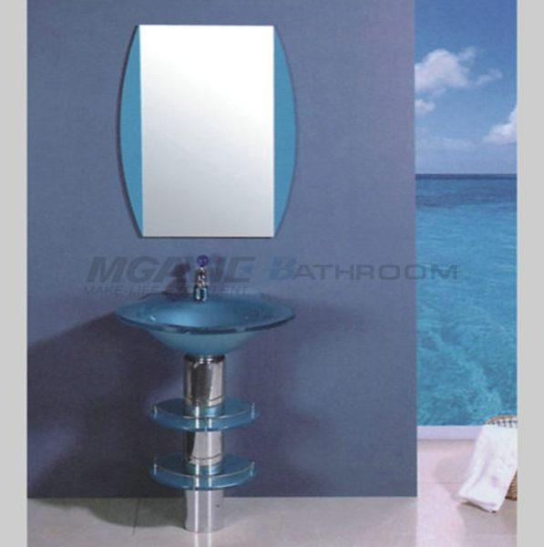 Blue Glass Washbasin With Stainless Steel Stand, Matching Blue Bathroom  Mirror, Silver Mirror,