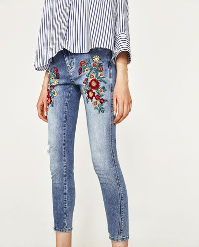 Embroidered Floral Jeans View All Jeans Woman Zara United Kingdom Floral Jeans Jeans Women Jeans