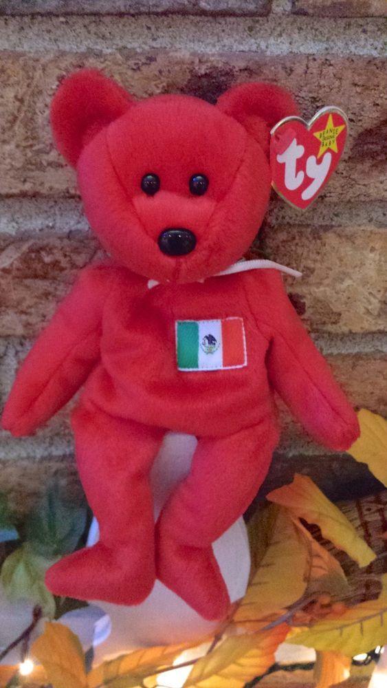 Ty Beanie Baby Osito Mexican Flag Bear  4244 plush 1999 PE Pellets MWMT  Ty 4a062ea3a76e