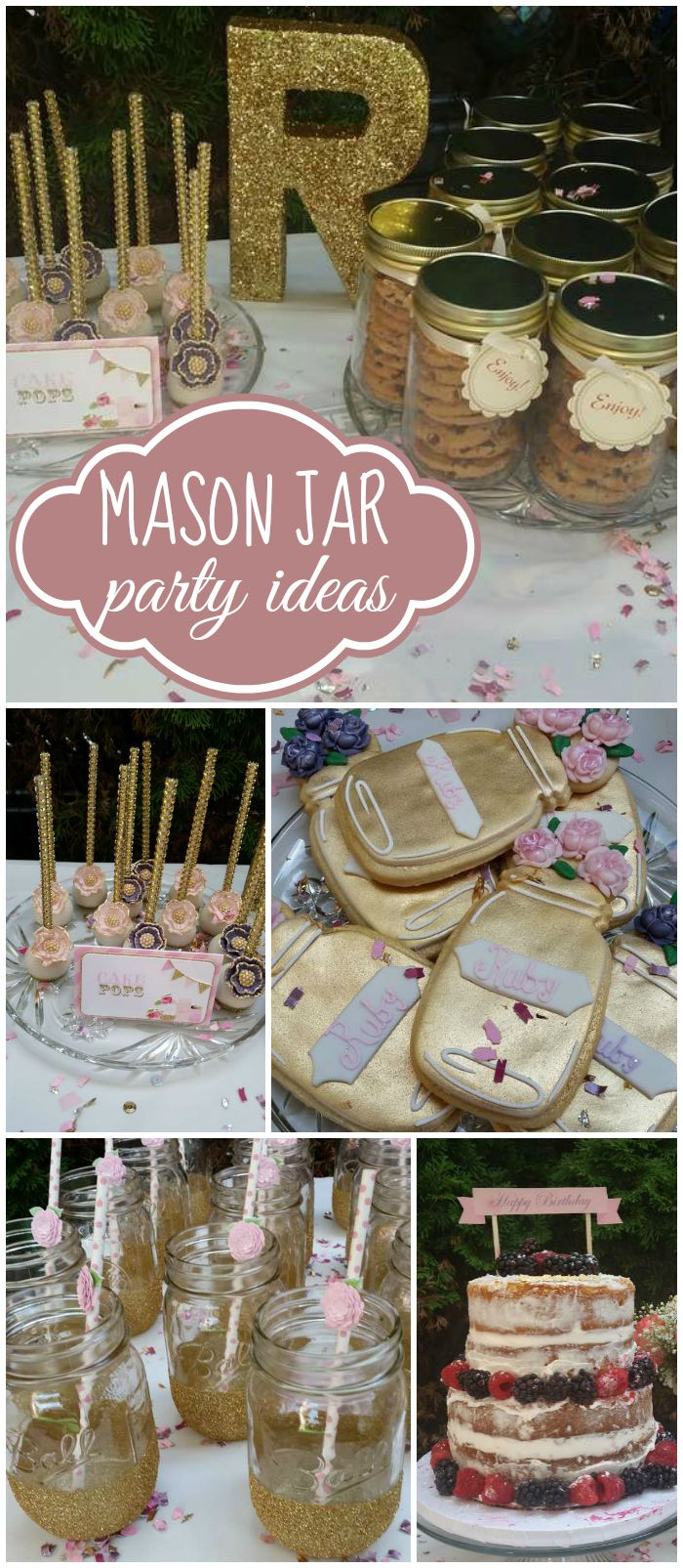 Pink And Gold Mason Jar Vintage Birthday Ruby S Mason Jar Vintage Birthday Catch My Party Birthday Party Activities Vintage Birthday Party