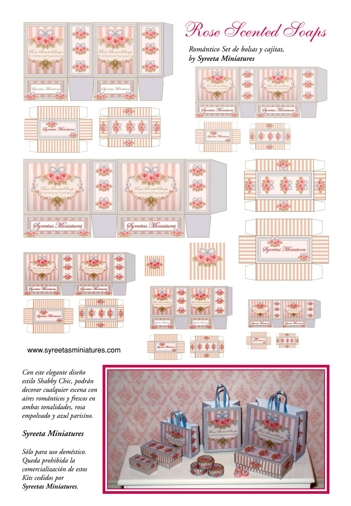 Printable Dollhouse Furniture Patterns Miniature Printables Rose Scented Soap Bags And Boxes