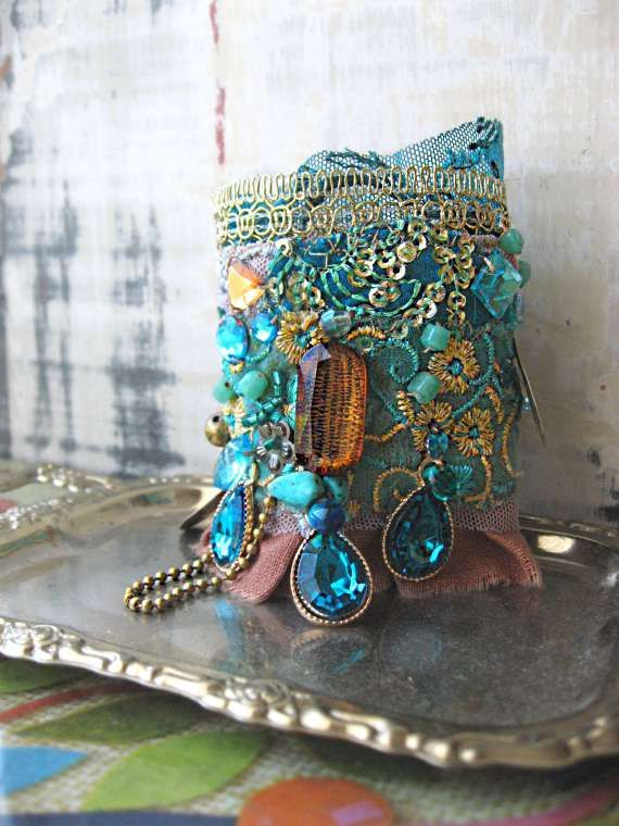 Boho Turquoise bracelet, vintage embroidery, blue and gold beads - Truly brilliant! by AllThingsPretty at Etsy.