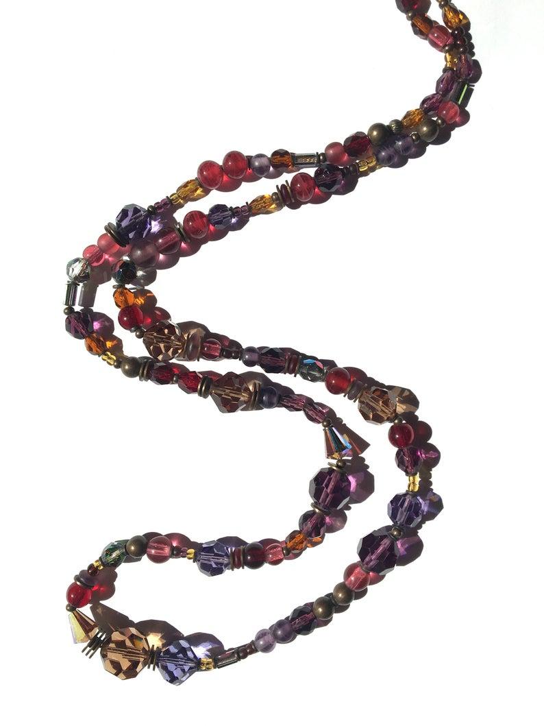 30 Inch Necklace In Garnet Smoke Topaz Rose Topaz And Etsy Deco Necklace Art Deco Necklace Smoke Topaz