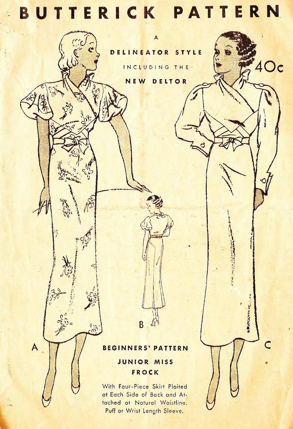 Butterick 5210 Misses\' Vintage 1930s Evening Dress Sewing Pattern ...