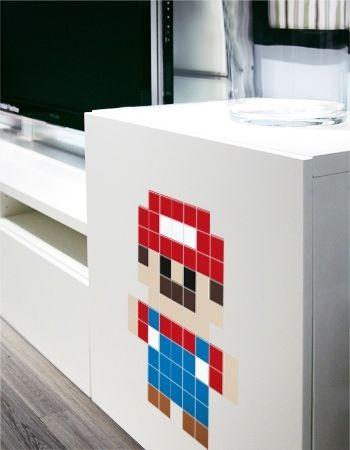 stickers mario en pixels d coration bureaux geek startup trouv sur. Black Bedroom Furniture Sets. Home Design Ideas