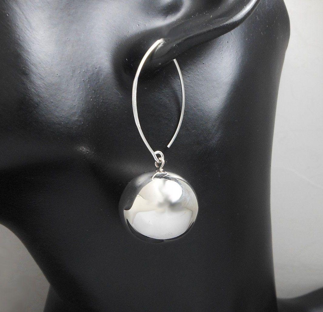 925 Sterling Silver Chunky Ball Drop Earrings – Ball Earrings 20mm Handmade Earr…