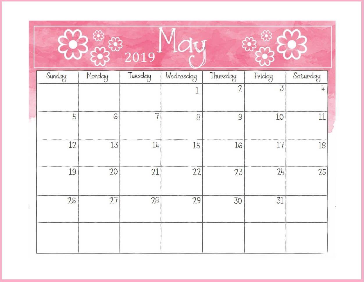 Printable May Desk Calendar