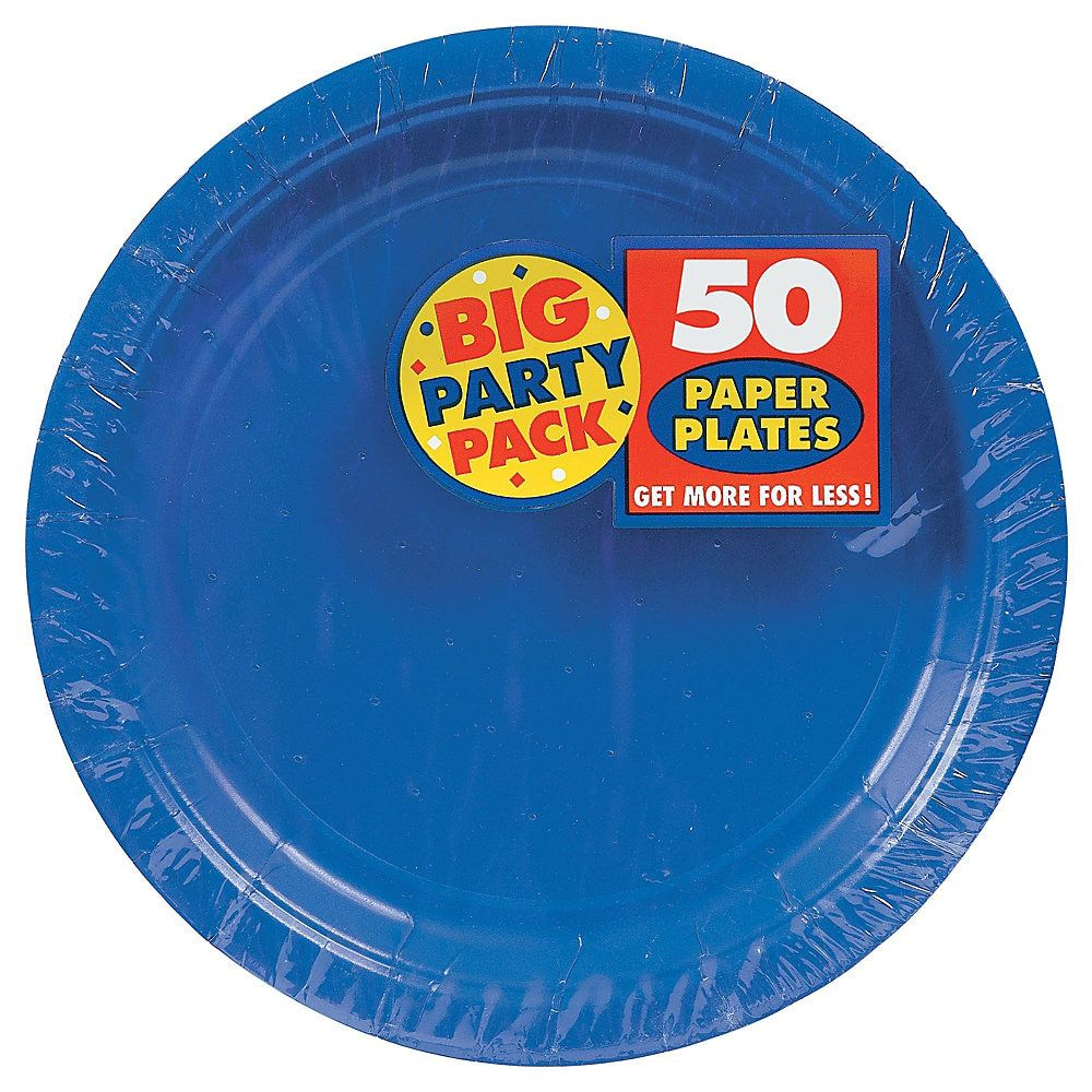 Amscan Big Party Pack 9 Round Paper Plates Royal Blue 50 Plates