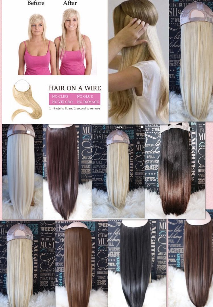 Halo design with hair on a wire. No clips, no glue, no damage. | Gel ...