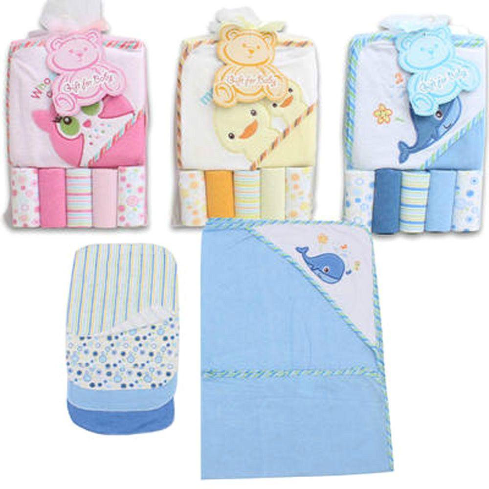 BABY BATH HOODED TOWEL w WASHCLOTHS 6pc GIFT SET Blue Whale Pink Owl ...