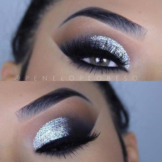 Silver Glitter Smokey Eye Idea For New Year S Eve Makeuplooks Silver Eye Makeup Silver Smokey Eye Glitter Smokey Eye