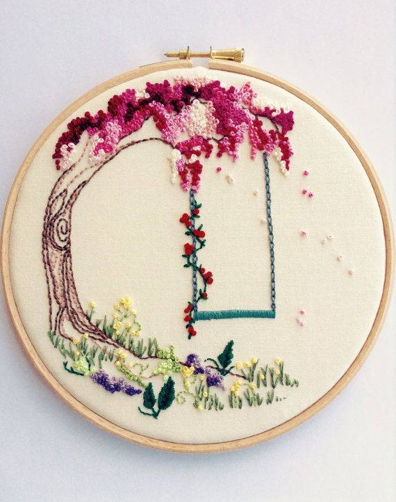 Woodland Tree Embroidered Hoop Art. Family Tree Embroidery Hoop Wall ...