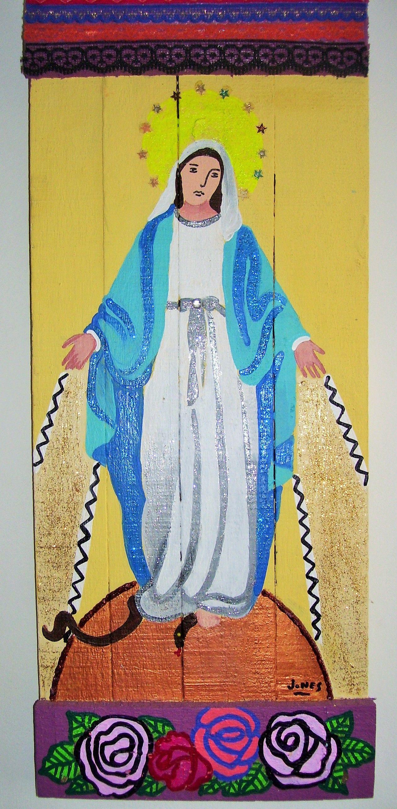 """""""Virgen de la Medalla Milagrosa"""" Acrilico sobre maderas recicladas de """"Reina Mandy - Arte Reciclado"""" inforeinamandy@gmail.com"""