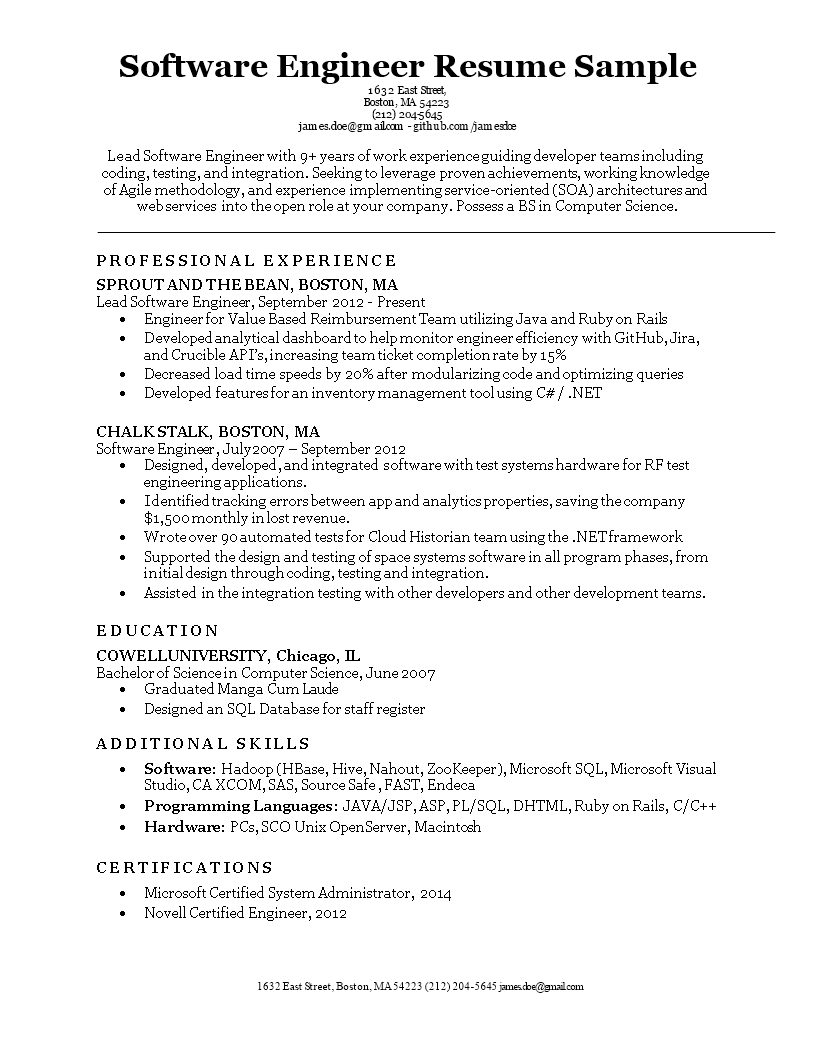 Software Engineering Resume Format How To Make A Software Engineering Resume Format Download This So Engineering Resume Resume Format Resume Format Download