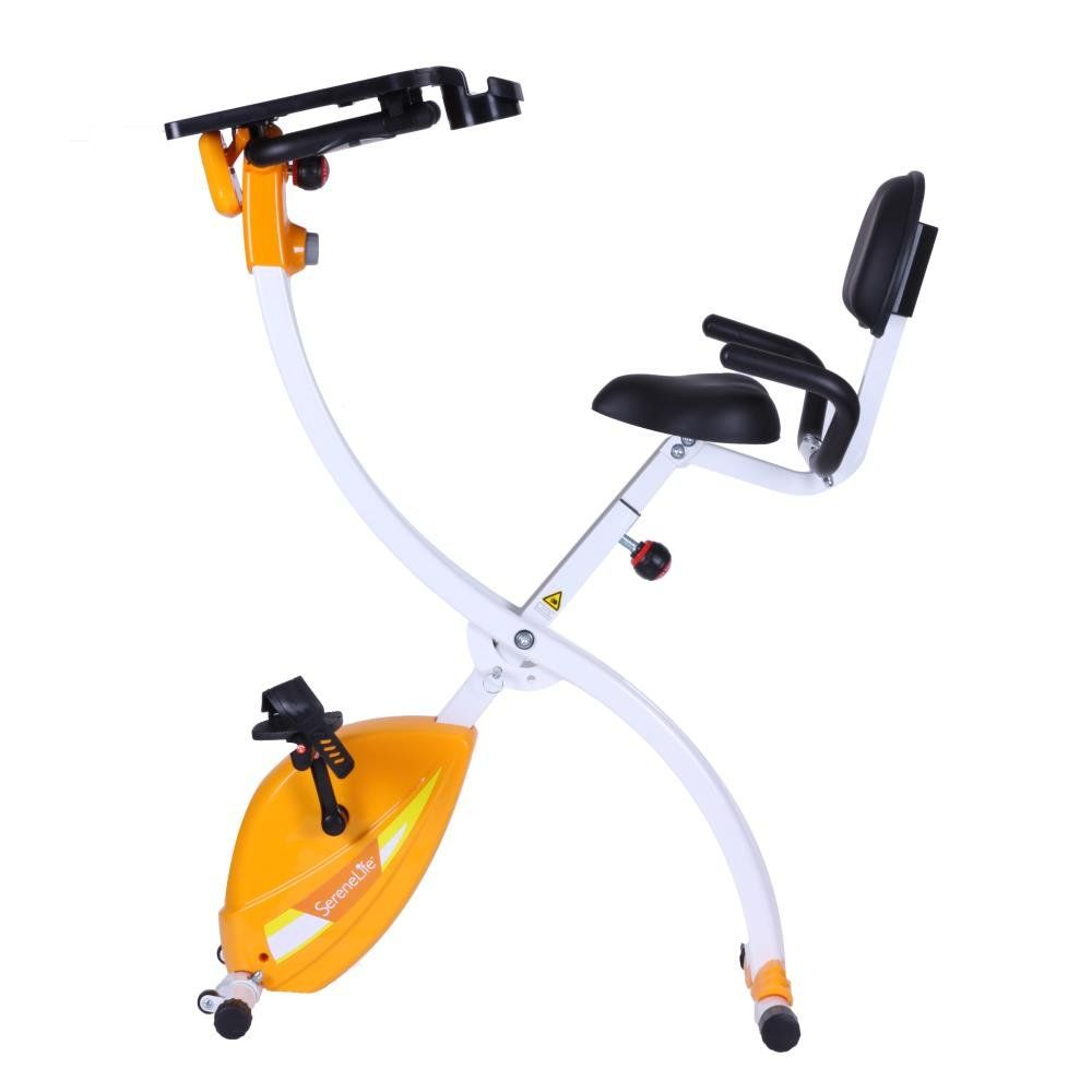 d2bb0180a96 SereneLife Exercise Bike Upright Stationary Foldable Bicycle Pedal Trainer  Fitness Machine Equipment w  Laptop Tray for Workout Weight Loss Fitness    ...