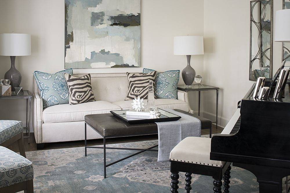 Serene Living Room with pops of color with @acostastudio painting