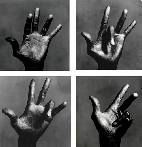 Miles Davis hands by Irving Pen