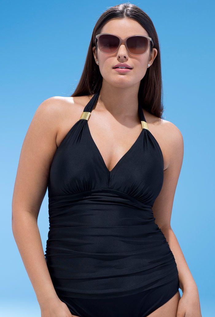 ec9cfd30b7 Black Ruched Halter Top | Swimwear | Pinterest | Swimsuits, Swimwear ...