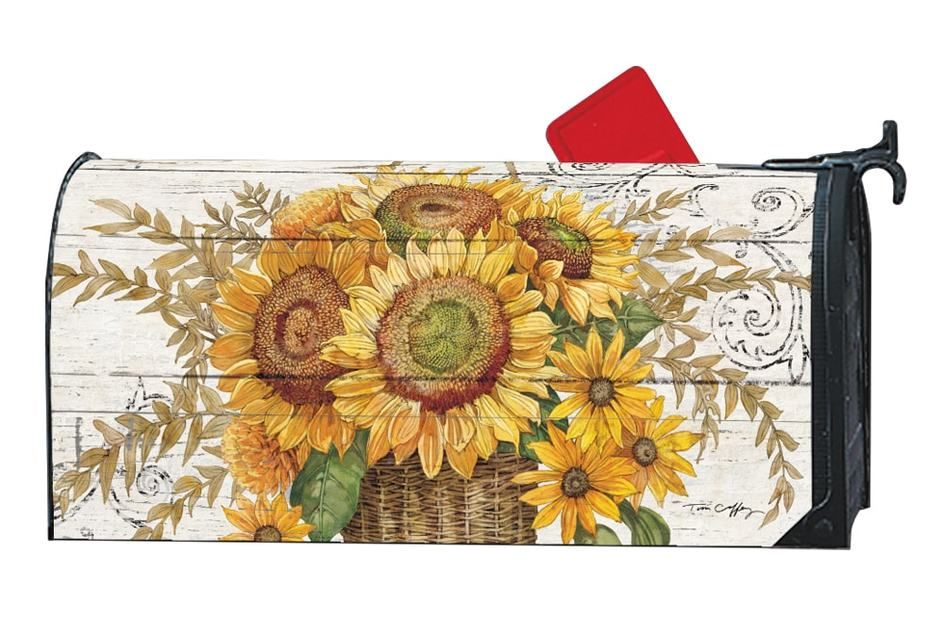Farmhouse Sunflower Magnetic Mailbox Cover Magnetic Mailbox Covers Mailbox Covers Metal Mailbox
