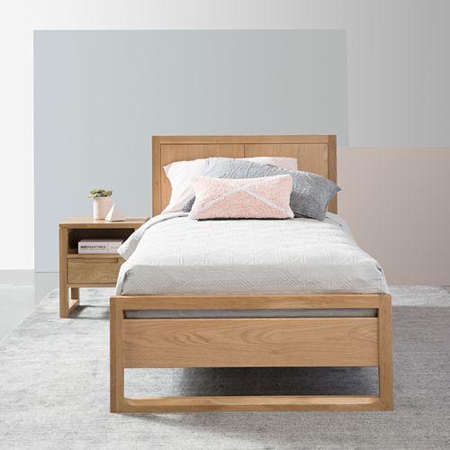 Bruno Single Size Bed Frame Solid Oak Single Size Bed Luxury Bedroom Furniture Single Bed Frame