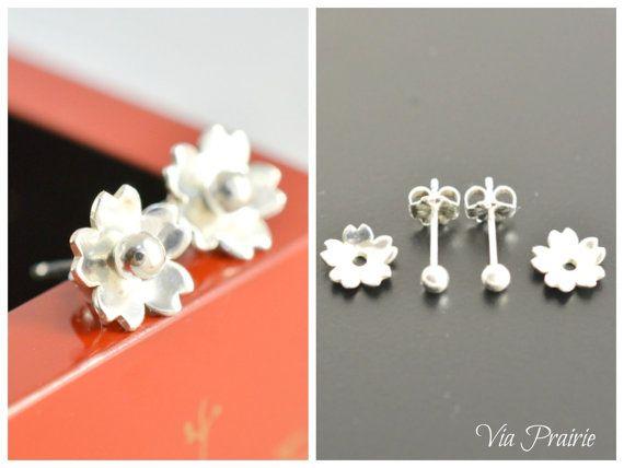 Sakura earrings,  2 ways to wear, 桜, Tiny studs, Tiny silver studs, Japanese Sakura stud, gift for her, Japanese jewelry, 925 Silver studs