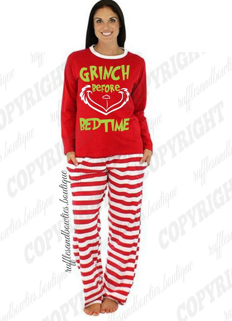 Womens Red and White Grinch before bedtime, Holiday