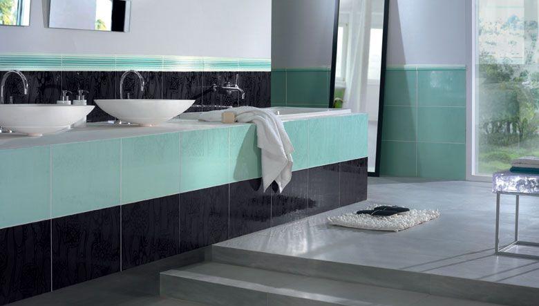 diseo cuartos de bao en colores cermica negro y verde de estilo moderno con cenefa decorativa