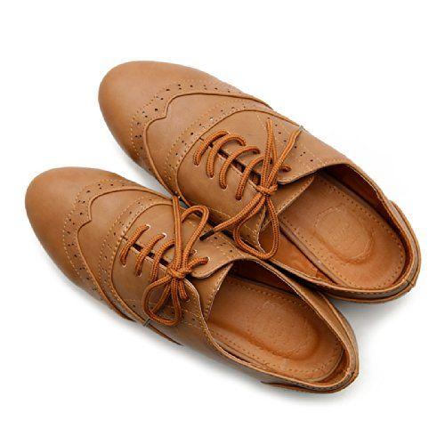 Ollio Women's Shoe Classic Lace Up Dress Low Flat Heel Oxford ...