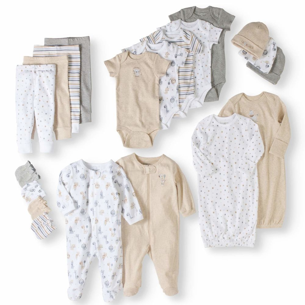 Newborn Essential Baby Clothes Unisex 4 Piece Layette Baby Shower